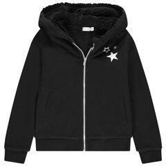 Junior - Vest van met kap van molton met sherpavoering en print met sterren
