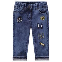 Driekwartbroek van jeans met geborduurde badges van Minnie ©Disney