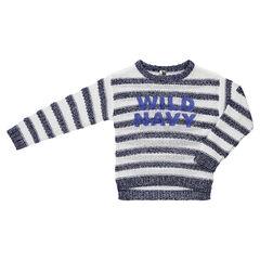 Pull manches longues en tricot rayé et inscription en sequins