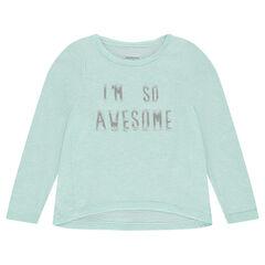 Tee-shirt manches longues en tricot fin avec message printé
