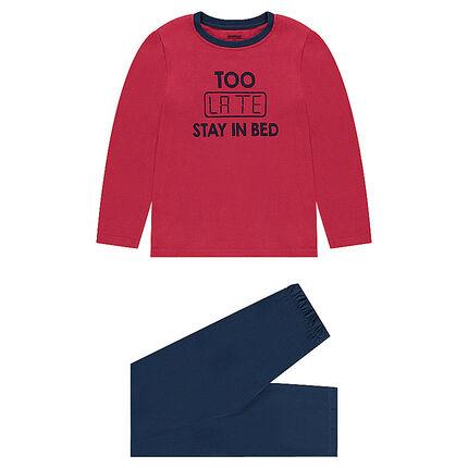 Junior - Pyjama van tweekleurige jerseystof met geprinte boodschap