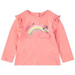 T-shirt met lange mouwen met volants, print van Minnie ©Disney en regenboog