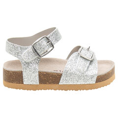 Sandalen met riempje met ledereffect en met pailletten