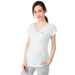 Tee-shirt manches courtes homewear avec message printé