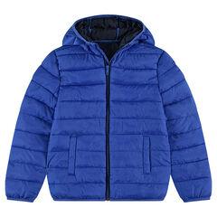 Junior - Doudoune light* imperméable à capuche avec sac de rangement printé