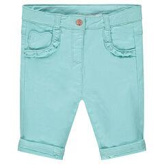 Pantalon en coton bleu avec poches volantées