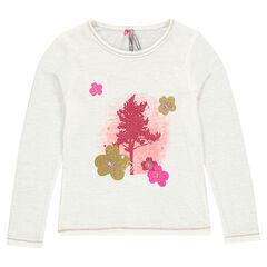 T-shirt met lange mouwen met print en borduurwerk