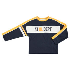 Tee-shirt manches longues forme boite avec bandes contrastées