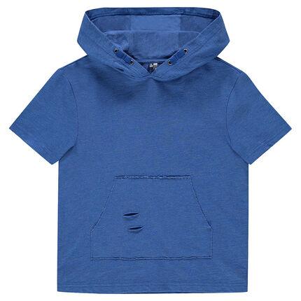 874b72a3a3b Junior - Sweat manches courtes à capuche avec poche kangourou ...