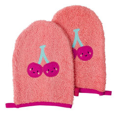 Set de 2 gants de toilette avec patch fruit