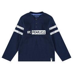 T-shirt met lange mouwen van jerseystof met honingraat en geprinte banden