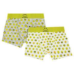 Lot de 2 boxers en coton imprimés ©Smiley all-over