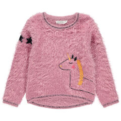 Pull en tricot poil avec licorne brodée