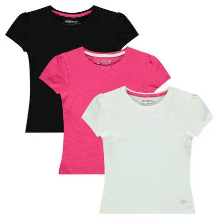 Lot de 3 tee-shirts manches courtes coloris uni
