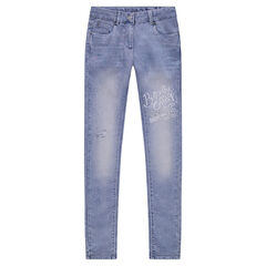 Junior - Jeans met used en crinkle effect met print met tekst