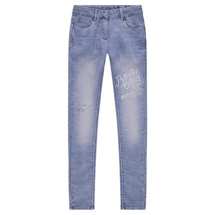 Junior - Jeans effet imitation molleton used et crinkle avec texte printé