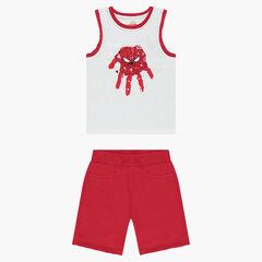 Ensemble avec débardeur print ©Marvel Spiderman et bermuda en molleton rouge