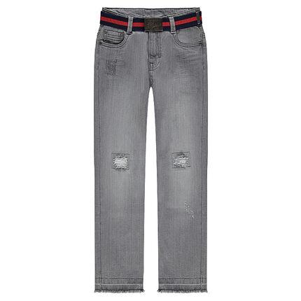 Junior - Jeans met used en crinkle effect en afneembare riem
