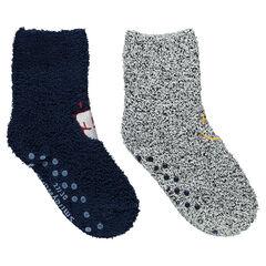 Lot de 2 paires de chaussettes en bouclette avec motifs brodés ©Smiley