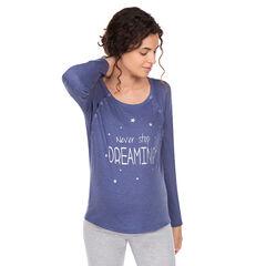 T-shirt met lange mouwen voor borstvoeding, print met opschrift