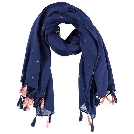 Junior - Sjaaltje van polyestervoile met geborduurde sterren en pompons