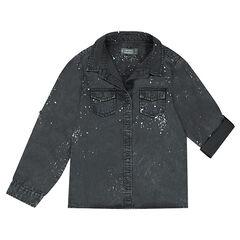 Junior - Hemd van tencel met oprolbare mouwen met verfvlekkeneffect