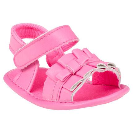 Open schoenen in fluoroze kleur plooien met strikken