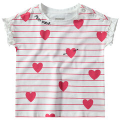 T-shirt manches courtes volantées avec rayures et ouverture boutonné