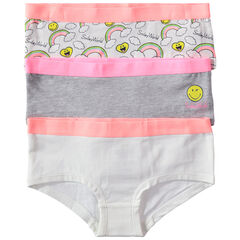 Set met 3 katoenen shorty's met fantasieprint Smiley