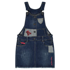 Jurk in jeans met used-effect, patches en letter met lovertjes