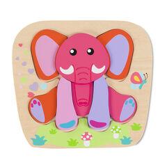 Houten puzzel roze olifant