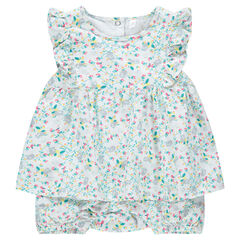 "Korte playsuit met jurkeffect en fijne bloemen ""all-over"""