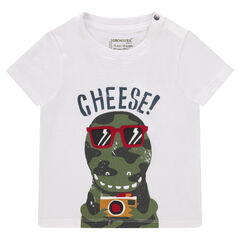 Tee-shirt manches courtes uni avec print fantaisie