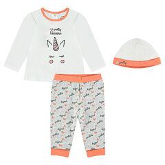 Pyjama en jersey print licorne avec bonnet assorti