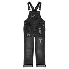 Tuinbroek in jeans met used effect en badges in wapenschildvorm
