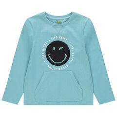 T-shirt manches longue motif Smiley en sequins magiques