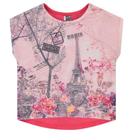 T-shirt met korte mouwen, rechte vorm en sublimatieprint aan de voorzijde
