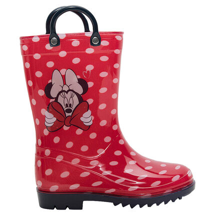 "Rubberen regenlaarzen met stippen ""all-over"" en print Minnie ©Disney van maat 28 tot 32"