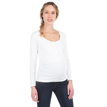 Geribd zwangerschaps-T-shirt met lange mouwen en drukknopen aan de kraag