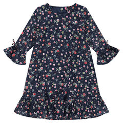 Junior - Robe en coton fantaisie volantée avec fleurs all-over