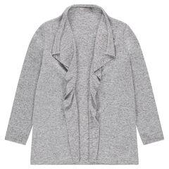Gilet en tricot gris chiné avec pans fantaisie