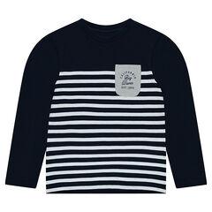 Junior - Tee-shirt manches longues en jersey style marinière