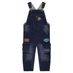 ©Smiley tuinbroek van jeans met used effect en voering van jerseystof