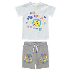 Ensemble van T-shirt met ©Smiley-print en bermuda met opgestikte Smiley