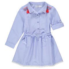 Hemdjurk met fijne streepjes en gevlochten riem