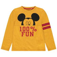 T-shirt manches longues en coton bio print Mickey Disney avec bandes