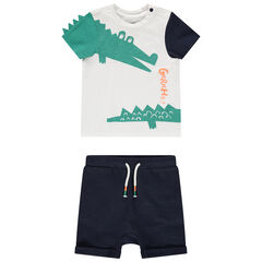 Ensemble avec t-shirt print crocodile et short en coton bio