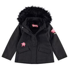 Manteau en drap de laine doublé sherpa avec fausse fourrure et fleurs patchées