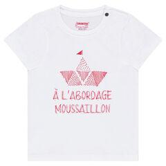 T-shirt met korte mouwen uit jerseystof met bootprint