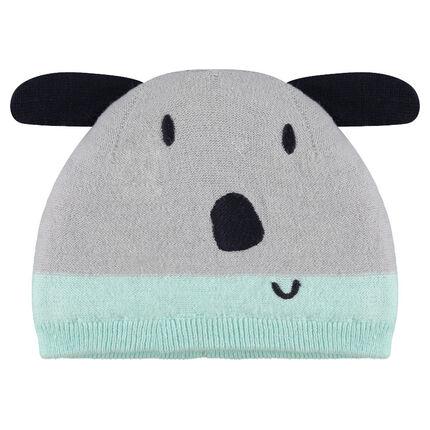 Bonnet en tricot doublé sherpa avec oreilles en relief